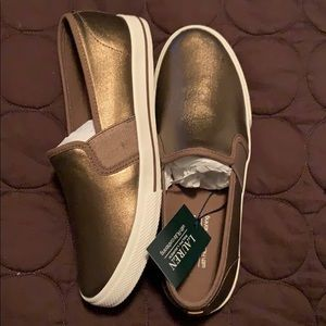 Ralph Lauren gold Metallic canvas shoes